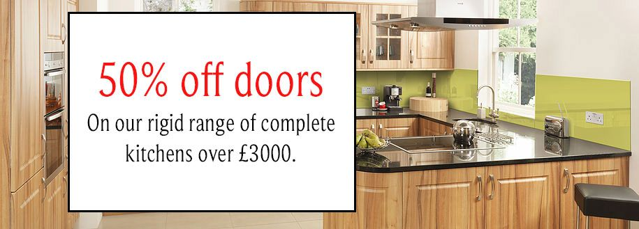 50% off doors on our rigid range of kitchens